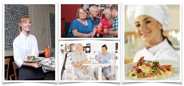 Bildet viser ulike gjester og ansatte på serveringsteder som et indroduksjonsbilde til kurset - universell utforming i serveringssteder